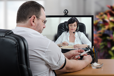 Patient on telehealth appointment