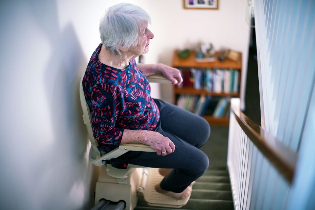 Aging at home in place, stair chair lift